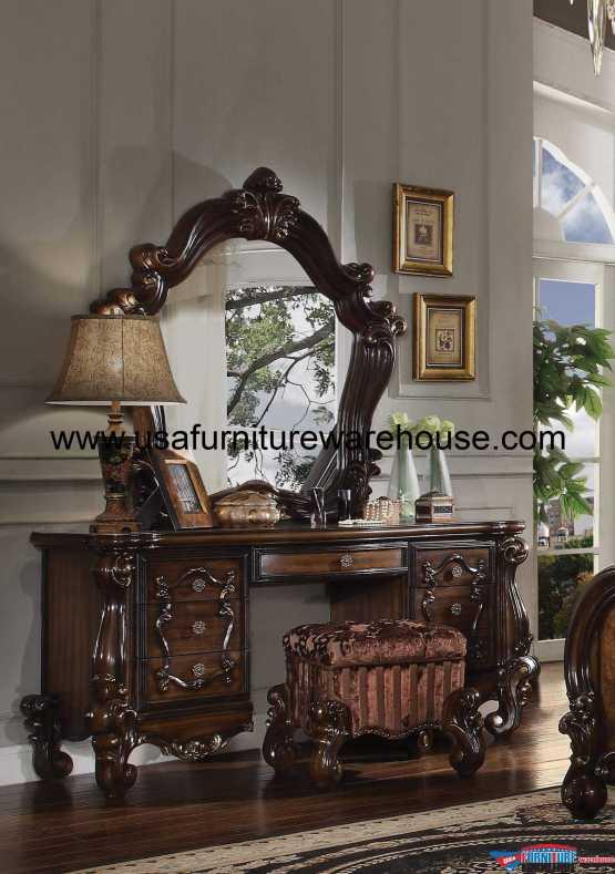 3 Piece Acme Versailles Vanity - Mirror With Stool