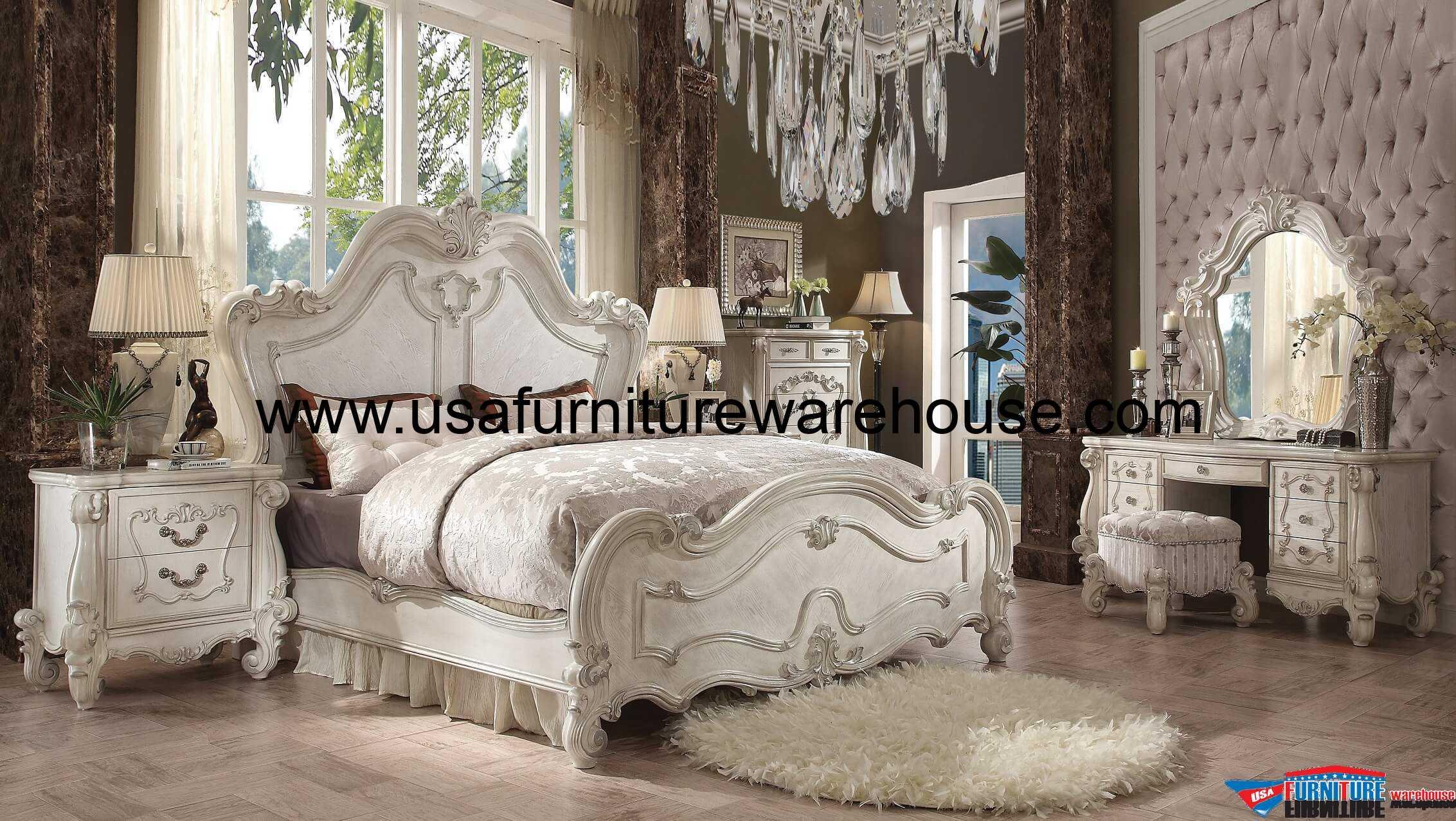 5 Piece Acme Versailles Bone White Panel Bedroom Set