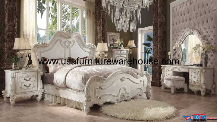 Acme Versailles Bone White Panel bedroom Set