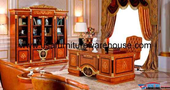 European Executive Desk With Bookcase Cabinet Set