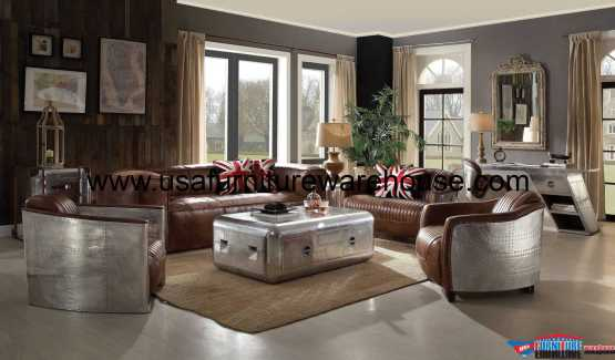 Brancaster Top Grain Leather Sofa Set