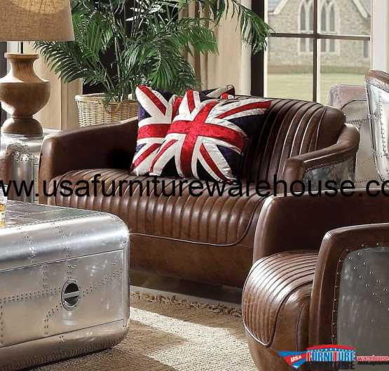Brancaster Top Grain Brown Leather Loveseat