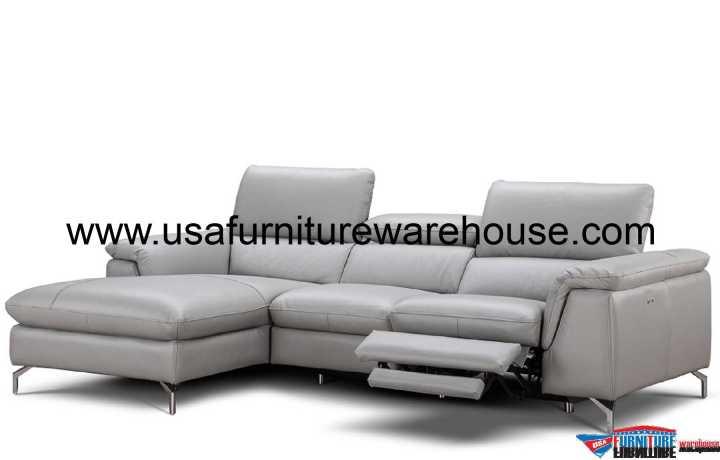J&M Serena Premium Grey Leather Sectional