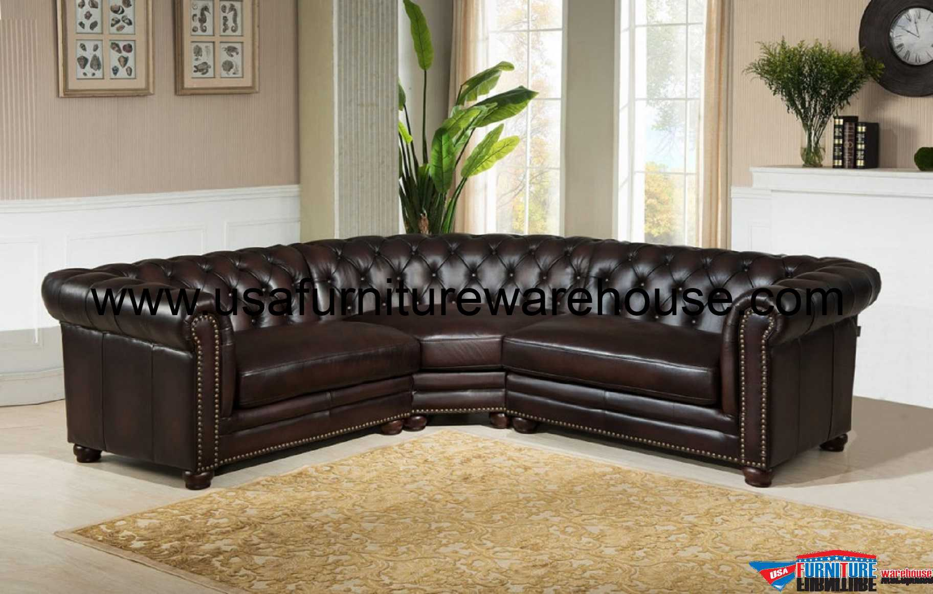 Pleasing 3 Piece Kennedy Genuine Dark Brown 100 Leather Sectional Pabps2019 Chair Design Images Pabps2019Com