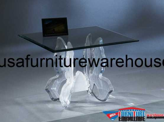Acrylic Clear Butterfly II End Table