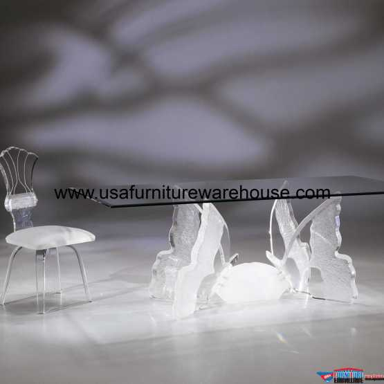 Acrylic Clear Butterfly II Rectangular Dining Table