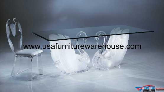 Acrylic Clear Legend Swan Rectangular Dining Table
