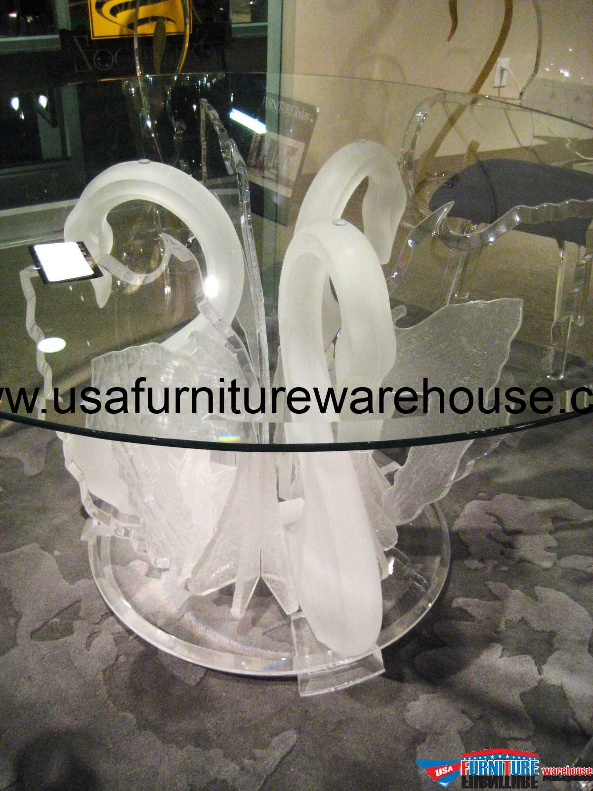 acrylic clear legend swan round dining table with glass top usa rh usafurniturewarehouse com crystal swan dining table swan base dining table