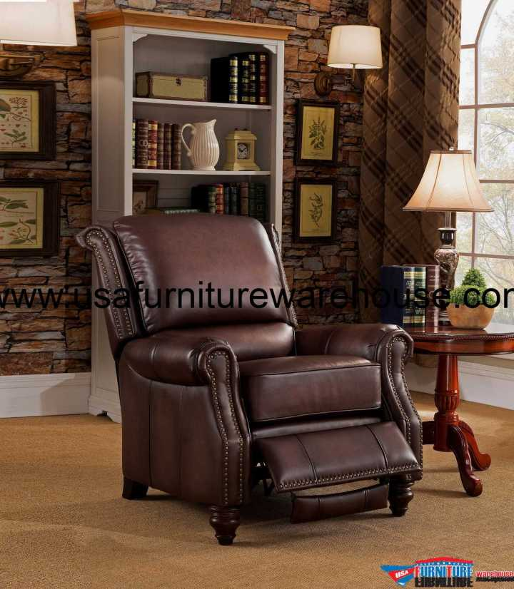 Churchill Genuine Brown Leather Recliner
