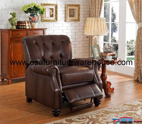 Churchill 100 Genuine Brown Leather Recliner Usa