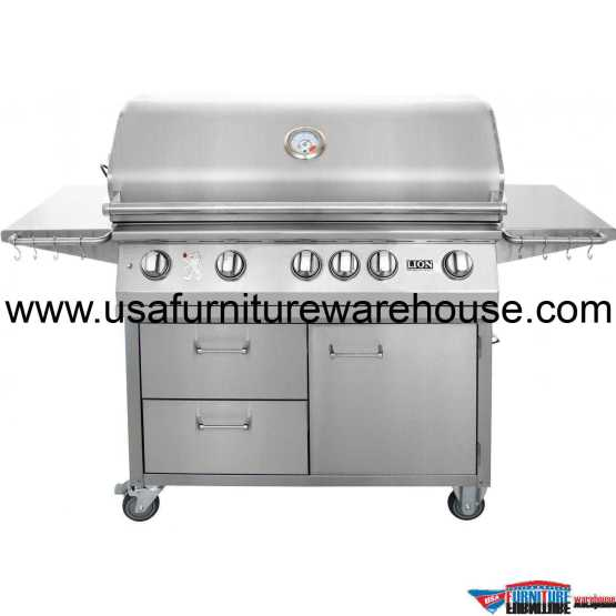 Lion - L90000 40-Inch 5 Burners Premium Grills Freestanding Cart