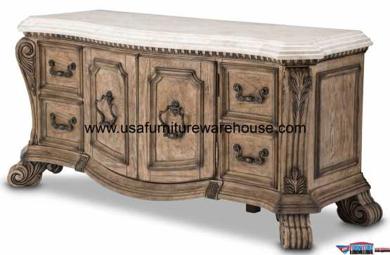 Villa Di Como Chest Base Marble Top Heritage Finish