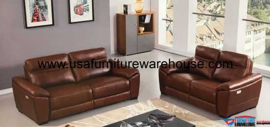Forma Full Italian Brown Leather Power Recliner Sofa Set
