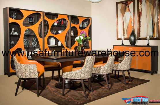 21 Cosmopolitan Orange Rectangular Dining Set