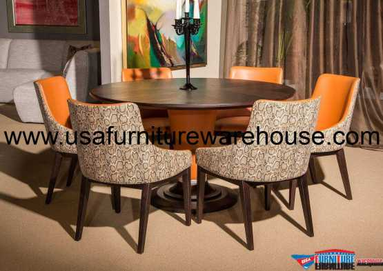 21 Cosmopolitan Orange Round Dining Set