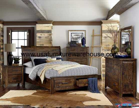 4 Piece Jerrick Storage Sleigh Bedroom Set