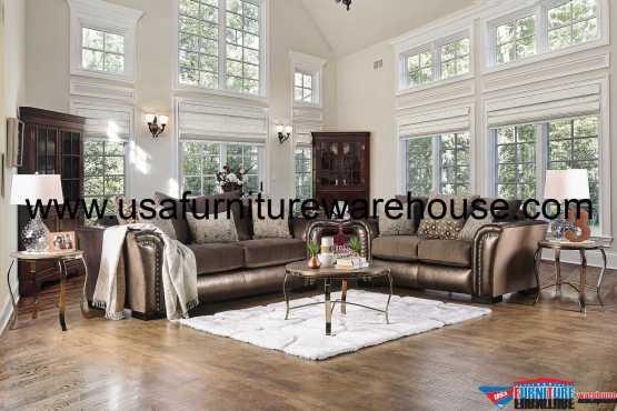2 Piece Benigno Bronze Fabric Sofa Set