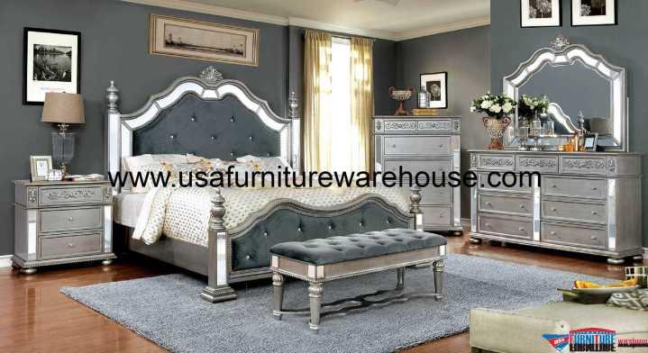Azha Bedroom Set Silver Finish