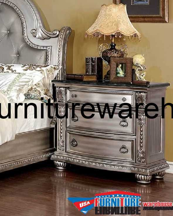 Fromberg 3 Drawer Nightstand Champagne Finish