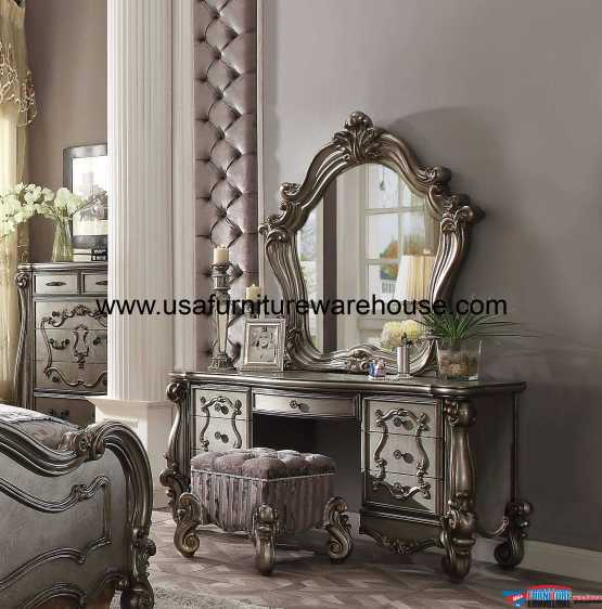 3 Piece Acme Versailles Antique Platinum Vanity