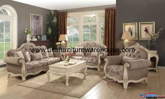 Ragenardus Fabric Sofa Set Antique White