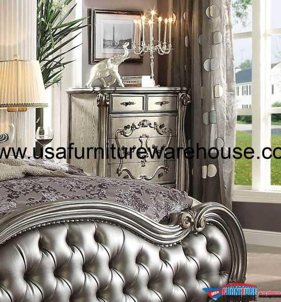 Acme Versailles Antique Platinum Round Dining Set USA