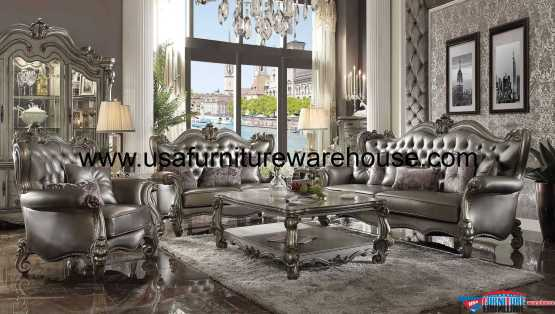 Versailles Sofa Set Antique Platinum Finish