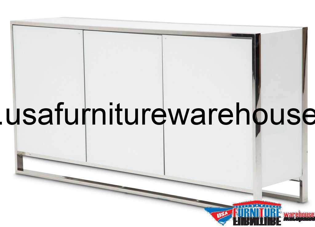 Aico State St 3 Door Sideboard Glossy White USA