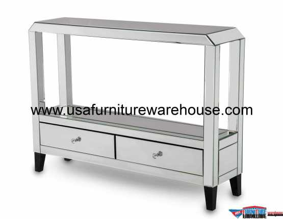 Montreal 2 Drawer Mirrored Console Table