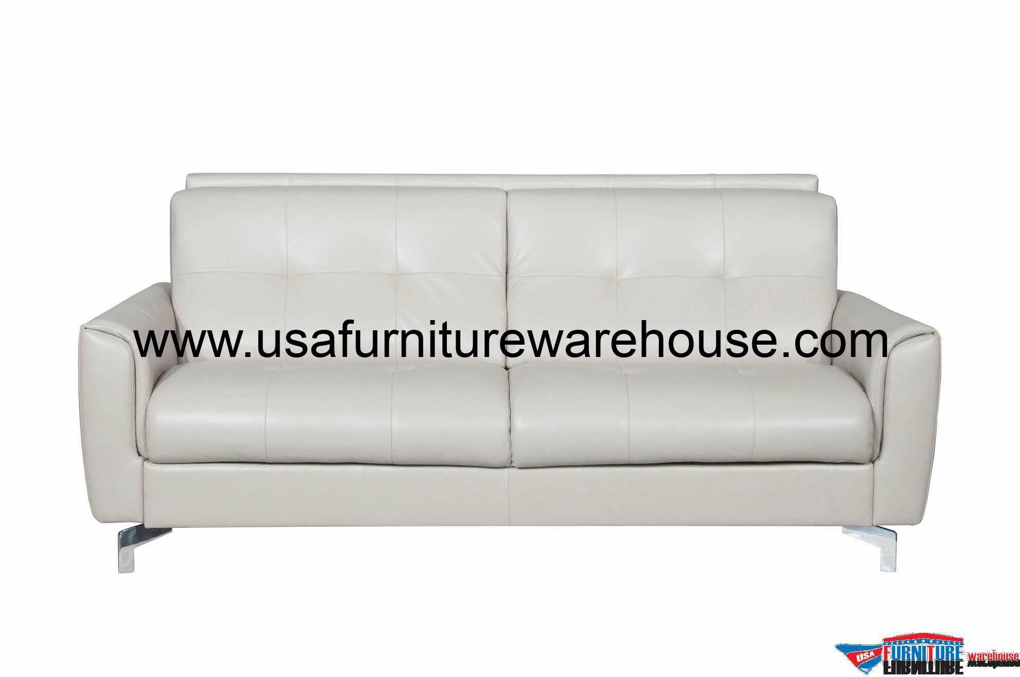 Benares Sand Top Grain Italian Leather Sleeper Sofa