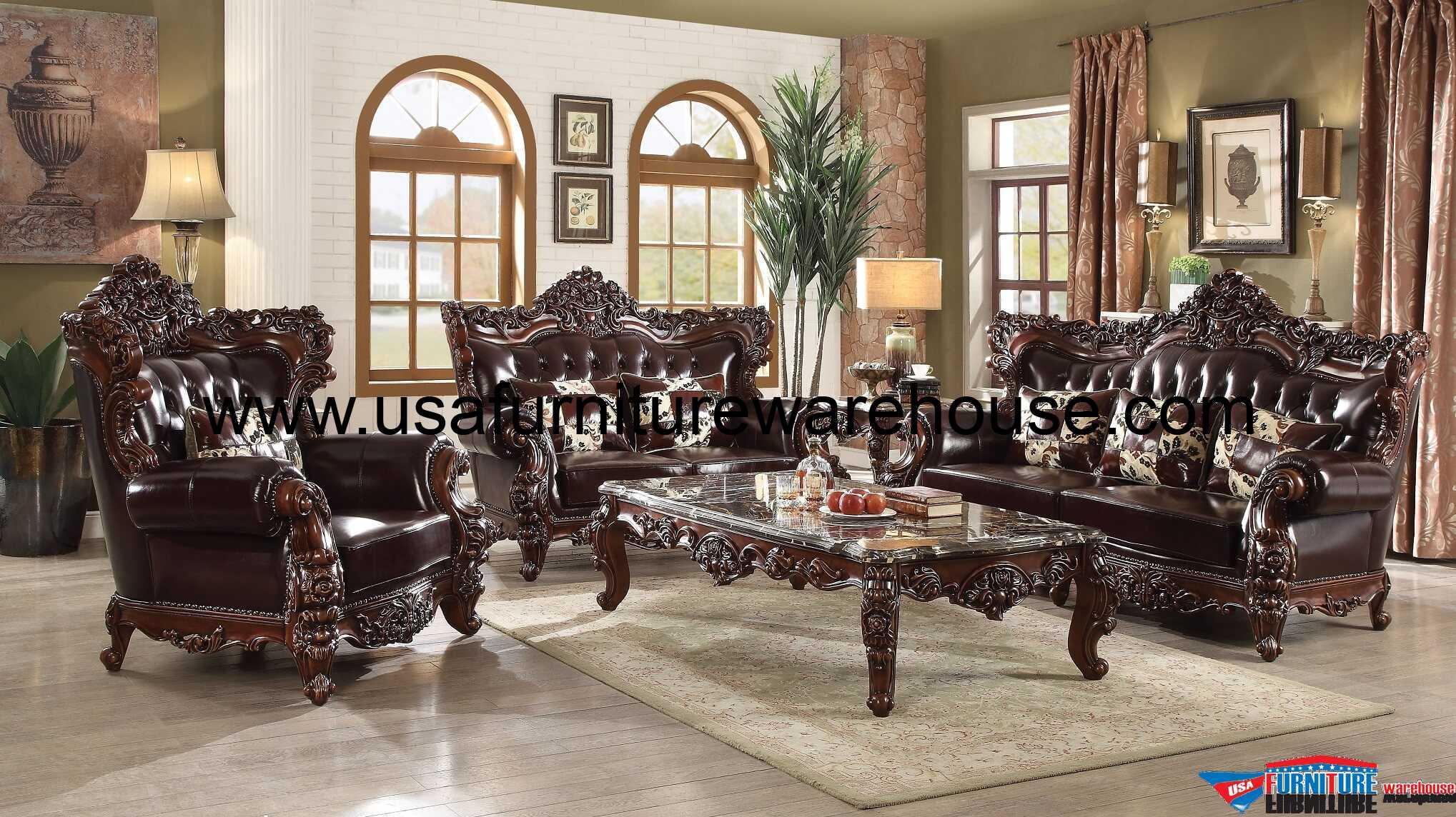 Forsythia Wood Trim Top Grain Leather Sofa