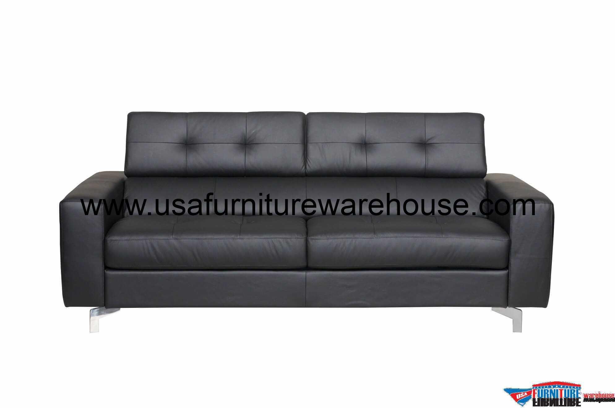 Tevere Black Top Grain Italian Leather Sleeper Sofa