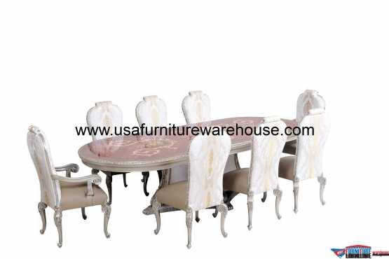 9 Pieces European Furniture Bellagio Dining Set