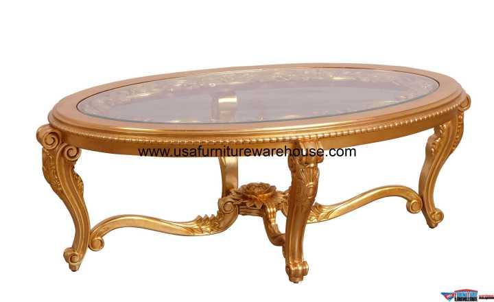 Bellagio II Gold Oval Coffee Table