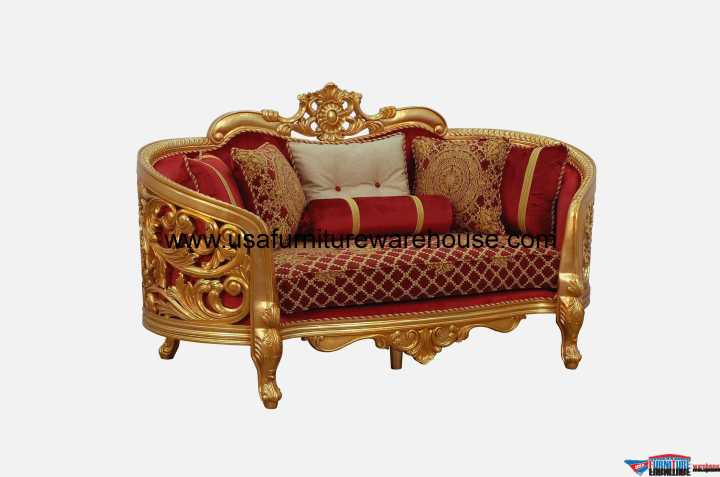 Bellagio II Loveseat Gold Red Fabric