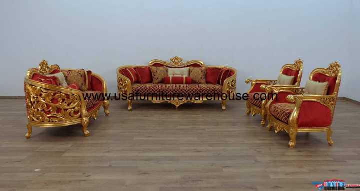 Bellagio II Sofa Set Gold Red Fabric