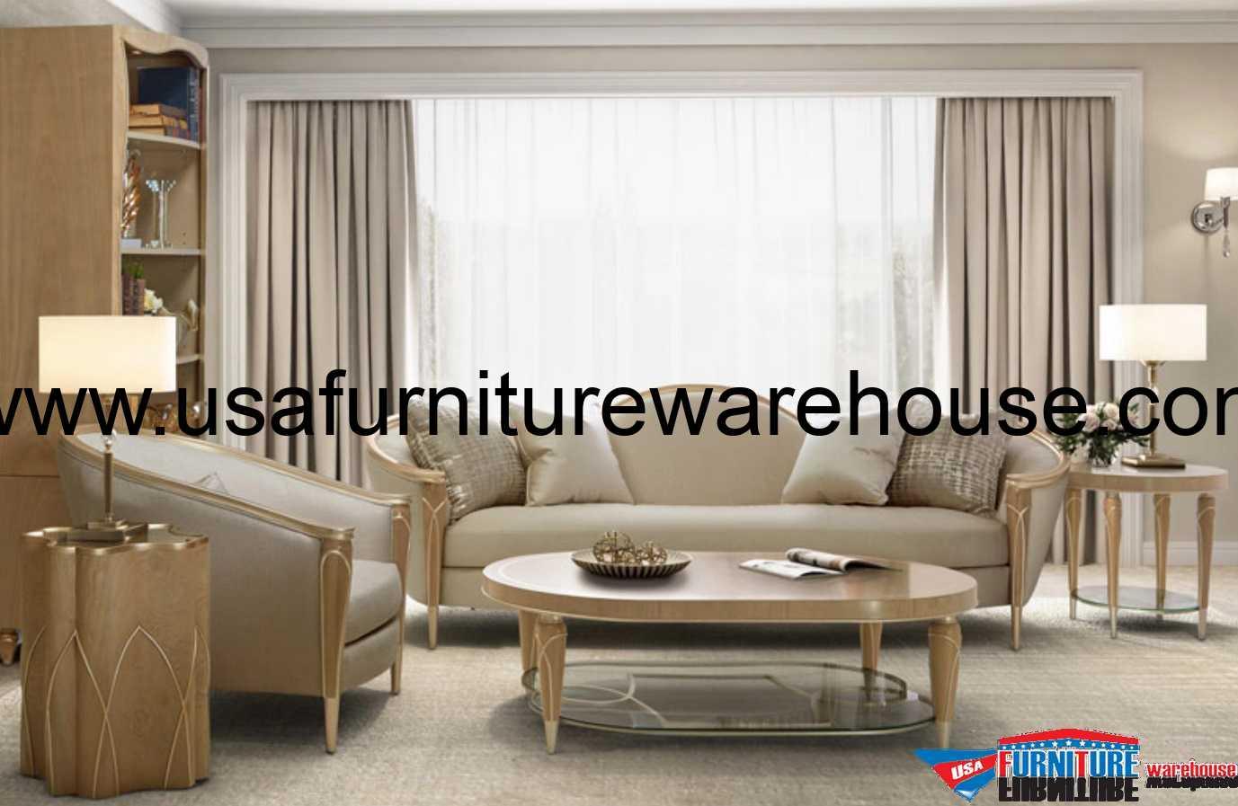 Aico Villa Cherie Sofa Caramel 9008815 Pearl 134 Usa Furniture