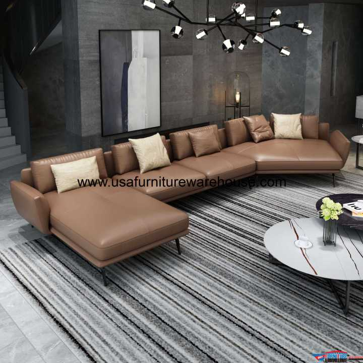 Santiago Russet Brown Italian Leather Sectional