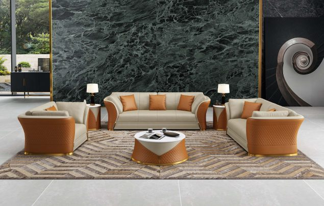 Vogue Sofa Set Beige-Cognac Italian Leather