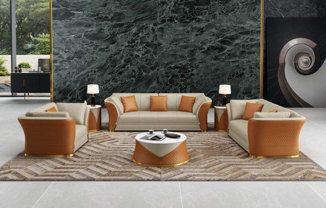 Vogue Sofa Set Beige-Cognac Italian Leather