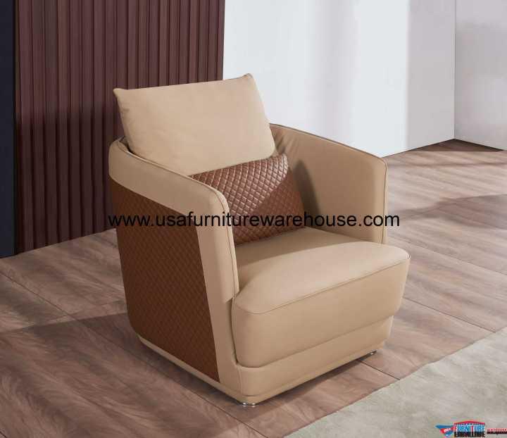 European Glamour Chair Sand Beige Italian Leather