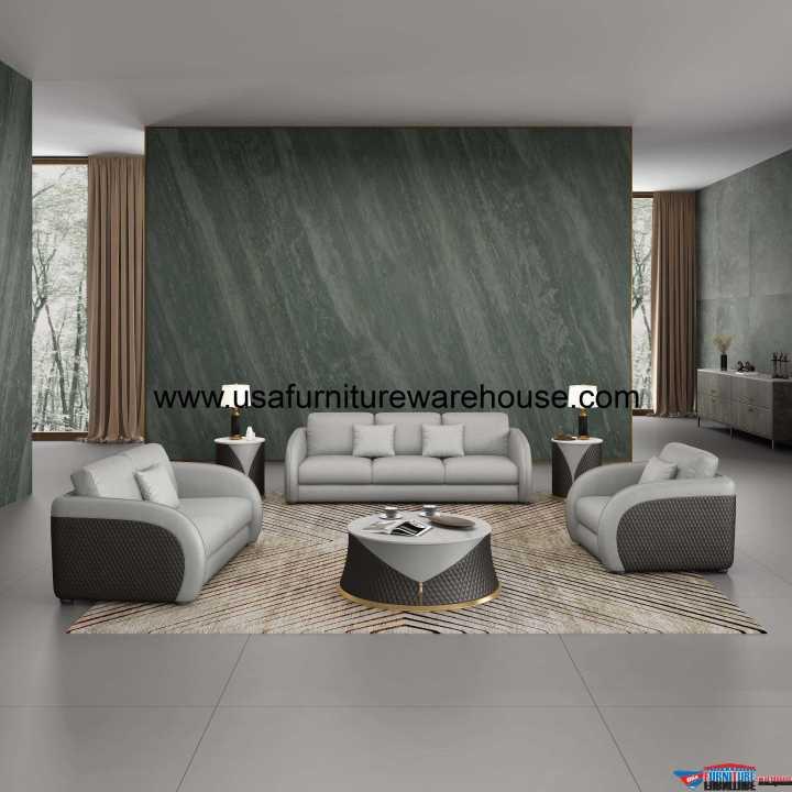Noir Modern Sofa Set Gray Leather