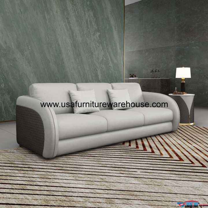 Noir Modern Sofa Gray Leather