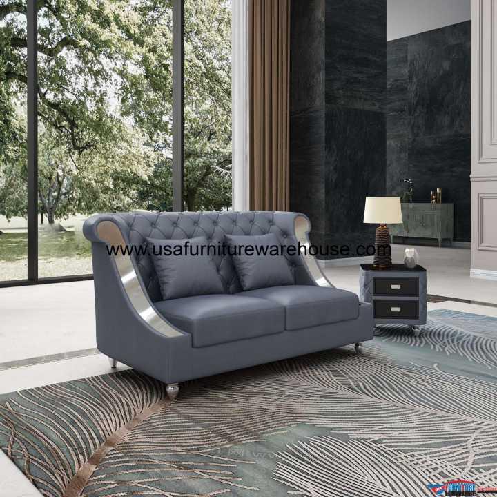 Mayfair Loveseat Premium Gray Italian Leather