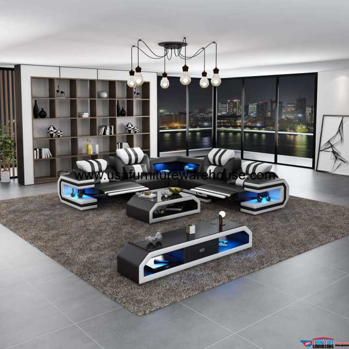 Lightsaber LED Dual Recliners Sectional Black & White Italian Leather