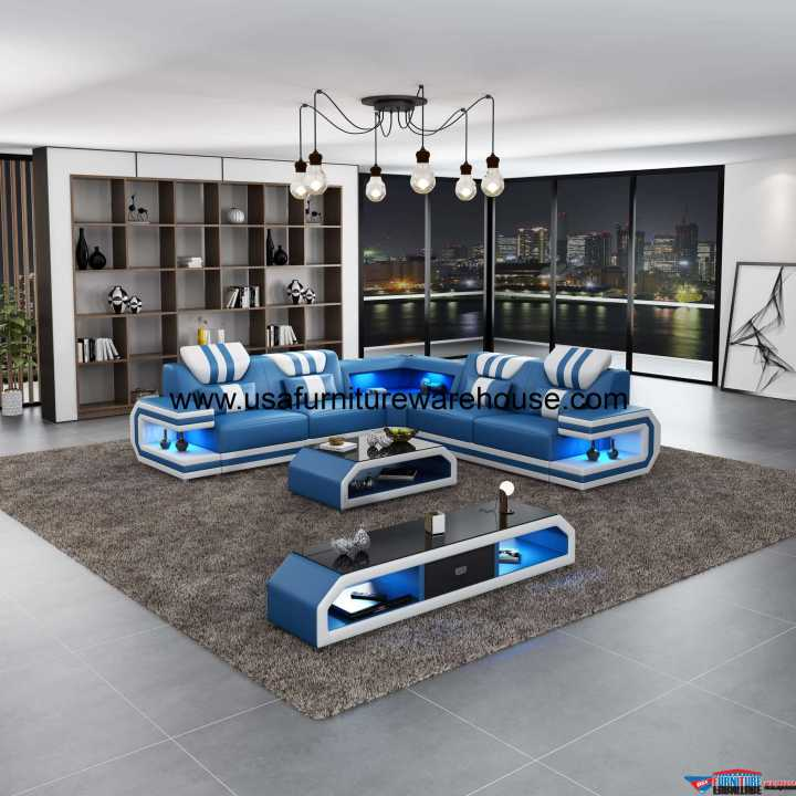 Lightsaber LED Contemporary Sectional Blue Italian Leather