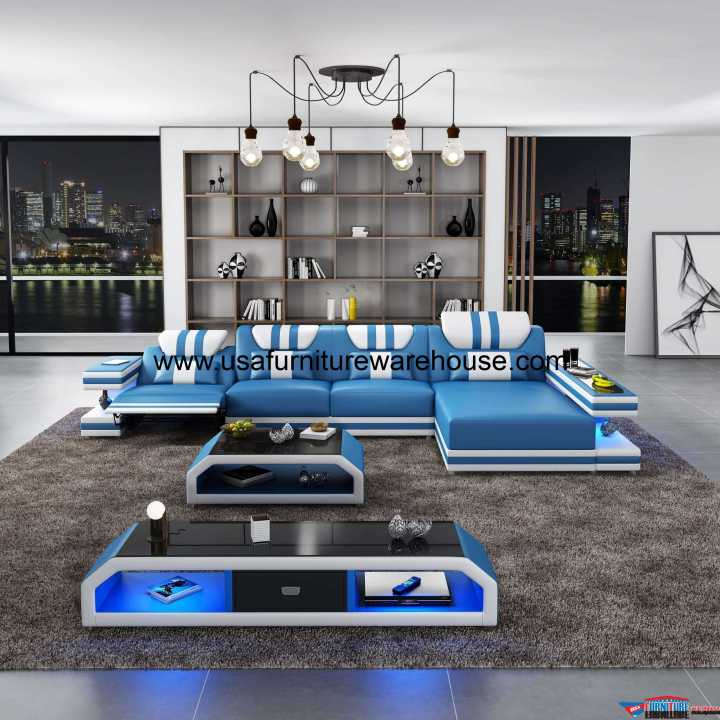 Lightspeed LED Contemporary Sectional With Recliner Blue Italian Leather