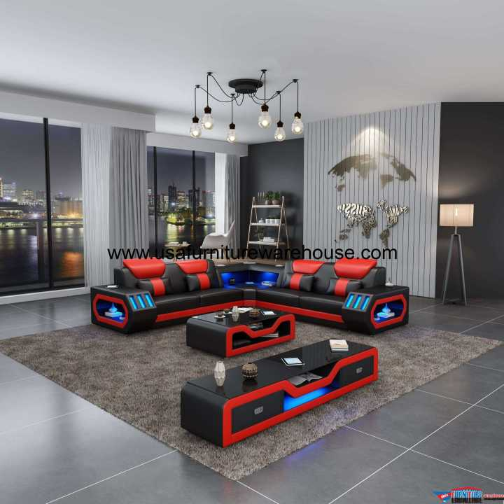Spaceship LED Contemporary Sectional Black Italian Leather