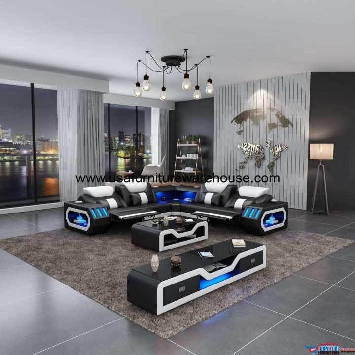 Spaceship LED Sectional Dual Recliner Black Italian Leather