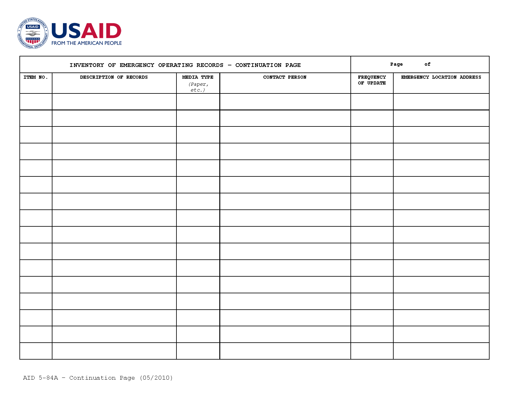 Aid 5 84a Inventory Of Emergency Operating Records